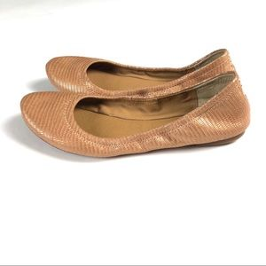 Lucky Brand Emmie Flats Shoes Rose Gold Textured